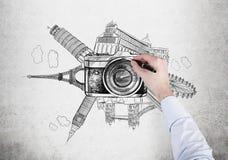 Señales famosas del mundo, foto, dibujando Foto de archivo