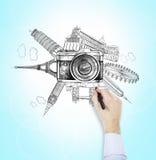 Señales famosas del mundo, foto, dibujando Fotografía de archivo libre de regalías