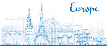 Señales famosas en Europa Ejemplo del vector del esquema Fotografía de archivo libre de regalías