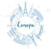 Señales famosas en Europa Ejemplo del vector del esquema libre illustration