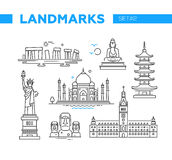 Señales famosas - línea iconos del diseño fijados Foto de archivo libre de regalías