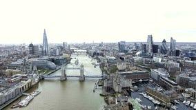 Señales icónicas de la visión aérea y paisaje urbano de Londres Fotos de archivo libres de regalías