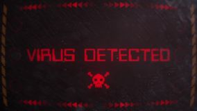 Señalización alerta amonestadora detectada virus en un monitor viejo