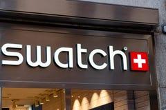 Señalización de la tienda de Swatch fotografía de archivo libre de regalías
