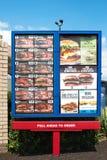 Señalización del menú de Burger King Fotos de archivo libres de regalías