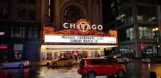 Señalización del teatro de Chicago foto de archivo libre de regalías