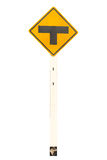 Señalización del tráfico del cruce en T Foto de archivo libre de regalías