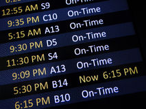 Señalización retrasada del vuelo Imagenes de archivo