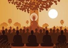 Señor de Buda que media con la muchedumbre de monje, estilo de la silueta ilustración del vector
