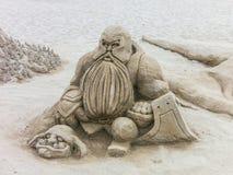Señor de la escultura de la arena de los anillos Imagenes de archivo