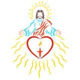 Señor Jesús y corazón con la cruz y la llama ilustración del vector