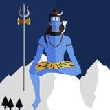 Señor Shiva en un fondo plano, jayanti de la deidad hindú del shiv fotos de archivo