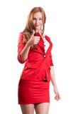 Señora acertada en rojo Foto de archivo libre de regalías