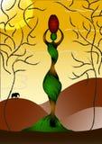 Señora africana con un crisol