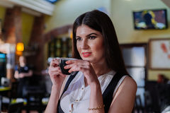 Señora agradable del negocio en el café Retrato Fotografía de archivo libre de regalías