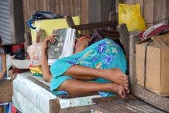 Señora asiática durmiente demente Imagen de archivo libre de regalías
