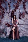 Señora atractiva atractiva con el pelo encrespado oscuro contra la pared de piedra con las plantas mágicas inusuales, condesa enc foto de archivo libre de regalías