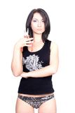 Señora atractiva con los alicates Foto de archivo