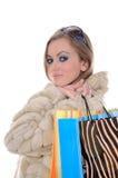 Señora atractiva de las compras Imágenes de archivo libres de regalías