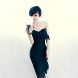 Señora atractiva del retrato en vestido Fotografía de archivo libre de regalías
