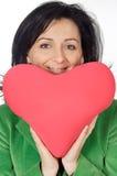 Señora atractiva enamorada en la tarjeta del día de San Valentín de san Foto de archivo