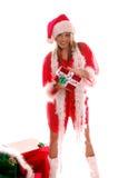 Señora atractiva Papá Noel Imágenes de archivo libres de regalías