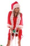 Señora atractiva Papá Noel foto de archivo