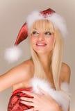 Señora atractiva Papá Noel fotos de archivo