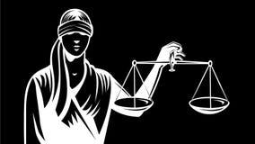 Señora Blindfold Holding Up escala animación retra de la justicia de la 2.a ilustración del vector