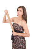 Señora bonita con un bate de béisbol, aislado en blanco Fotos de archivo