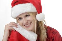 Señora bonita en el sombrero de Santa Fotos de archivo