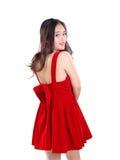 Señora bonita y su vestido rojo lindo Imagen de archivo