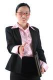 Señora china de la oficina que sacude las manos Imágenes de archivo libres de regalías