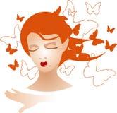 Señora con el pelo y las mariposas anaranjados Fotografía de archivo