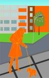 Señora con el perrito ilustración del vector