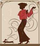 Señora con el perro stock de ilustración