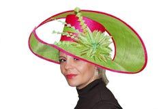 Señora con el sombrero Fotos de archivo libres de regalías