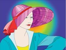 Señora con el sombrero colorido Foto de archivo libre de regalías