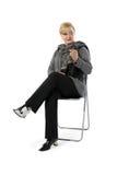Señora con el teléfono Fotos de archivo libres de regalías