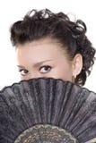 Señora con el ventilador Fotos de archivo libres de regalías