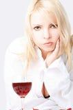 Señora con el vino Fotografía de archivo libre de regalías