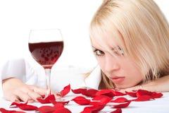 Señora con el vino Imágenes de archivo libres de regalías