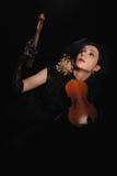 Señora con el violín quebrado Imagen de archivo libre de regalías