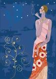 Señora con estilo que fuma en el estilo de París de la vendimia