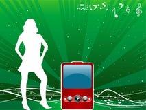 Señora con iPod Fotos de archivo libres de regalías