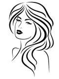 Señora con la cara sensual ilustración del vector