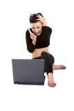 Señora con la computadora portátil y el móvil Imagen de archivo libre de regalías