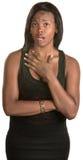 Señora con la mano en pecho Imágenes de archivo libres de regalías