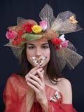 Señora con la mariposa Fotografía de archivo libre de regalías