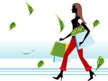Señora con los bolsos del dinero y de compras Imagenes de archivo